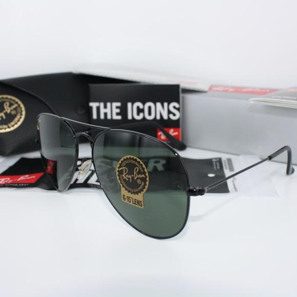ba01c025bd3a6c NWT NIB Ray-Ban RB3025 Black Aviator Sunglasses